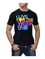 Londonhouze Men's Round Neck T-Shirt (LHW3D004XL_Black_X-Large)