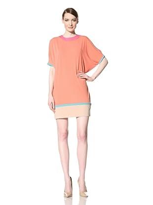Donna Morgan Women's Colorblock Cold Shoulder Dress (Coral Rose Multi)