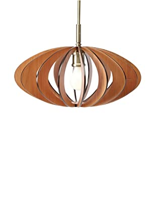 Woodbridge Lighting Canopy Wood Slat AquaTech Mid-Pendant, Classic Brass