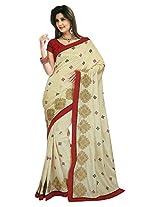 Chirag Saree Women Cotton Silk Resham Saree (Sati3219 _White & Red _Free Size)
