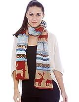 Women's Bohemian Reindeer Snowflake Knit Scarf Shawl, Rust-Red/Khaki, Light Blue