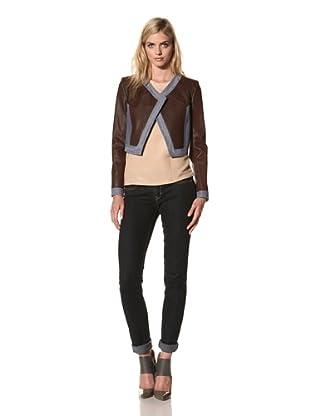 Thakoon Women's Cropped Leather Jacket with Denim Trim (Cognac)