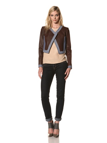 Thakoon Women's Cropped Leather Jacket with Denim Trim (Cognac)