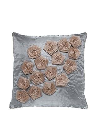Cloud 9 Organza Flower Throw Pillow, Grey/Pink