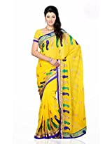 Shariyar Yellow Georgette Printed Saree PRG383