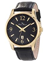 Lucien Piccard Men's 11566-YG-01 Adamello Black Textured Dial Black Leather Watch
