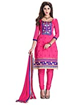 Pink Manvaa Embroidered Suit with U-Neck and Full Sleeves