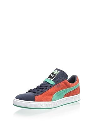 PUMA Men's Suede Classic Sneaker (Puma Red/New Navy/Mint Leaf)