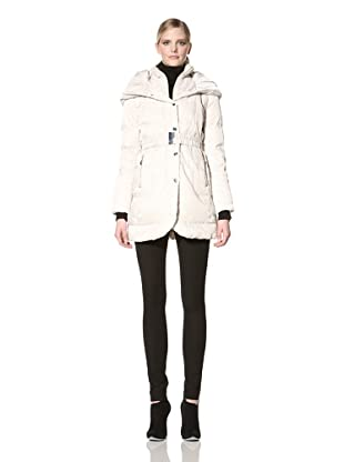 Ivanka Trump Women's Belted Down Jacket with Knit Collar (Ivory)