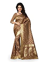 Shree Sanskruti Self Design Tassar Silk Brown Color Saree For Women With Blouse Piece