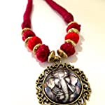 Red and maroon thread bead necklace with antique bronze small Ganesha pendant