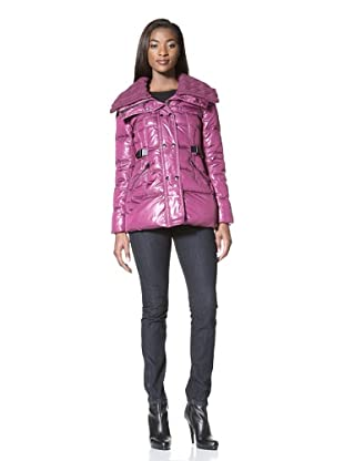 Via Spiga Women's Giada Double-Breasted Jacket with Knit Collar (Currant)
