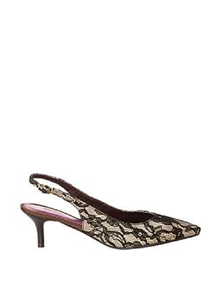 Cortefiel Zapato Destalonado Encaje (Negro)