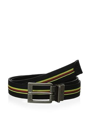 Original Penguin Men's Reversible Striped Web Leather Belt (Black)