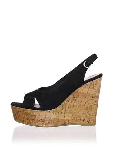 Dolce Vita Women's Jill Wedge Sandal (Black Suede)