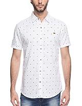 Spykar Men Cotton White Casual Shirt (Large)