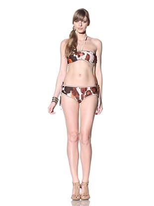 Chris Benz Women's Halter Bikini (Brown/Orange)