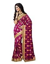 Saree Studio Magenta Wedding Wear Saree Booti Lace Work Indian Jacquard Sari