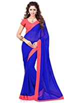 Sourbh Saree Lace Work Blue and Peach Faux Georgette Best Sarees for Women(with color option) Party Wear,Karwa Chauth Gifts, Women Clothing Collection