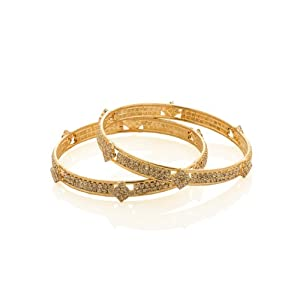 Voylla Cz Encrusted Pair Of Bangles With Pretty Floral Motifs, Gold Plating, Size 2-8