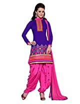 Manvaa Womens Cotton Straight Unstitched Dress Material (Kq1002 _Blue With Pink)