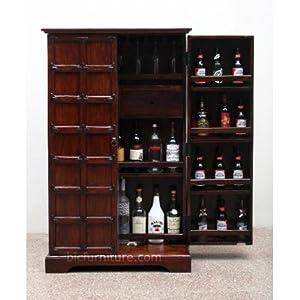 Wooden rustic looking bar cabinet