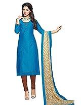 Shree Vardhman Blue Satin Cotton Straight Unstiched Salwar Suit Dress Material