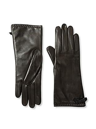 Portolano Women's Contrast Piping Leather Gloves (teak/black)