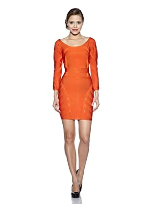 Corizzi & Absolu Vestido Escote En Espalda Cóctel (Naranja)