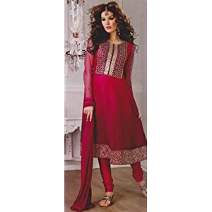 Gaurangi Purple Embroidered unstitched suit with dupatta