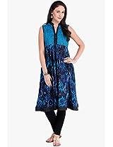 Aqua Blue Printed Kurta Vishudh