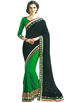 Faux Georgette Saree in Green Colour for Party Wear