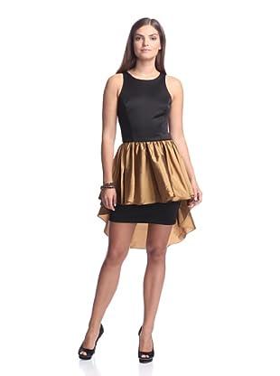 Alexia Admor Women's Ponte Dress with Taffeta Skirt (Black/Amber)