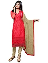 Manvaa MAGNIFICANT RED AND BEIGE Embroidered Dress Material