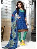Saara Blue Printed Dress Material - 144D4031
