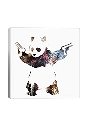 Banksy By5CollectivePanda with Guns Watercolor Silhouette Canvas Print
