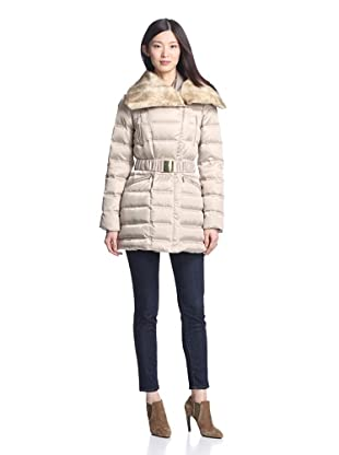 Laundry by Shelli Segal Women's Belted Puffer Coat (Ice Gold)