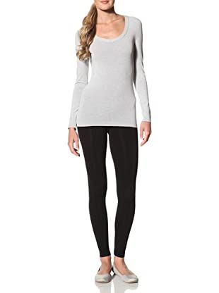Cosabella Women's Smooth Free Long Sleeve Scoop Neck Top (Heather Gray)