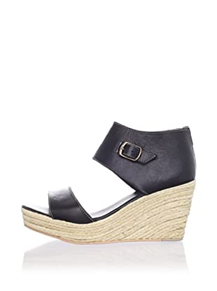 Fiel Women's San Lorenzo Cuffed Wedge Platform Sandal (Black)