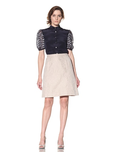 Bibhu Mohapatra Women's Jacquard A-Line Skirt (Beige)