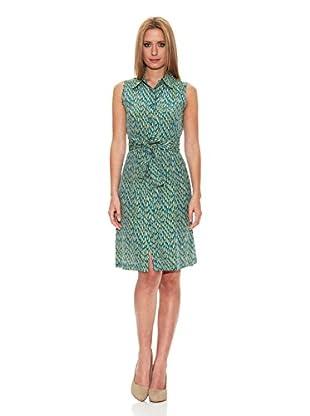 Siyu Vestido Plumas (Azul / Verde)