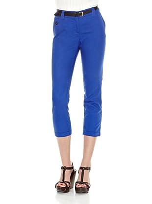 Cortefiel Pantalón Básico Lino Pirata T 9 (Azul)