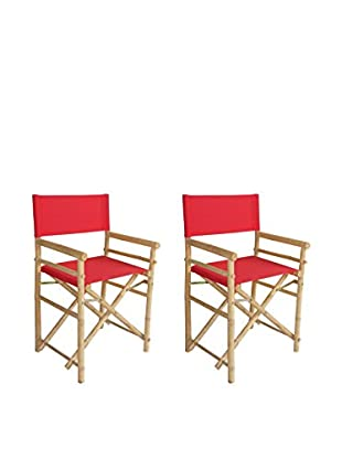 ZEW, Inc. Set of 2 Bamboo Director Chairs, Red