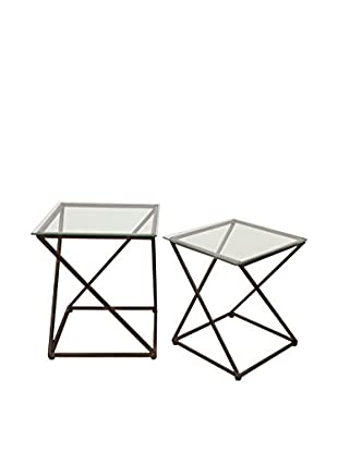 Three Hands Set of 2 Glass-Top Accent Tables, Black