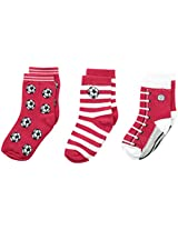 Country Kids Baby Boys' Soccer Pick A Mix 3 Pairs, Red, Sock Size 5-6