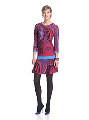 Donna Morgan Women's Drop Waist Dress (Red/Magenta Multi)