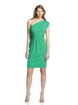Aida Women's One-Shoulder Draped Dress (Emerald)