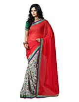 Vibes Women's Butti Georgette Saree (S23-1101B_Red Coloured)