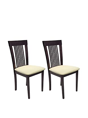 Aeon Set of 2 Hartford Solid Beechwood Dining Chairs, Coffee