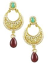 22K Goldplated Red Stone Dangle Earings